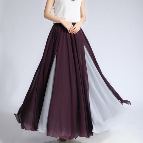 Purple and Light Gray Maxi Skirt - Contrast Colored Maxi Skirt - Long Layered Chiffon Skirt - SK6e