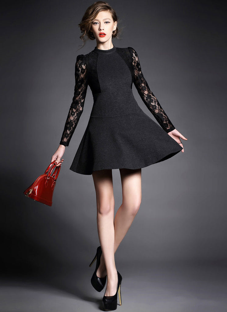 Black Wool Mini Dress with Lace Sleeves and Stand Collar