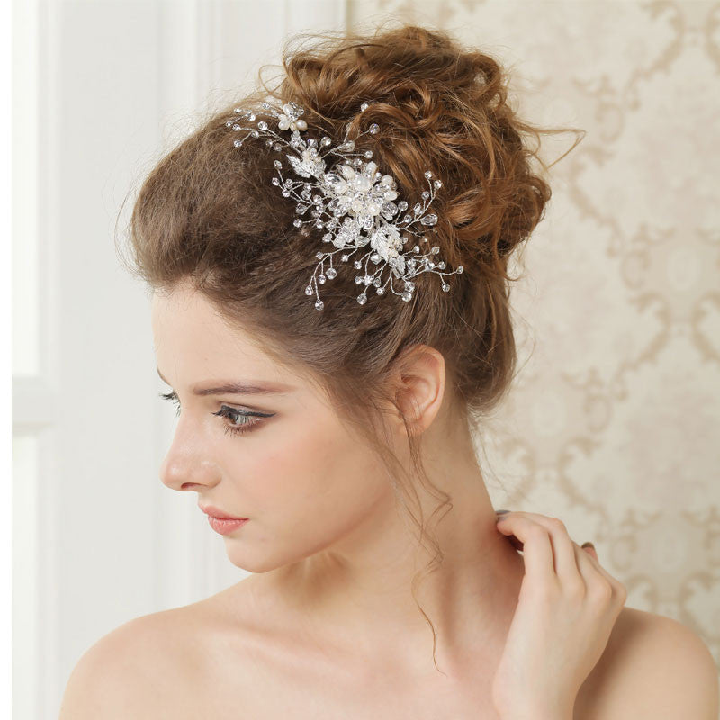 Hand Wired Bridal Headpiece - Crystal and Pearl Hair Comb - Wedding Headpiece - Bridal Hair Piece - Bridal Pearl Hair Comb - Crystal Bridal Halo HP27