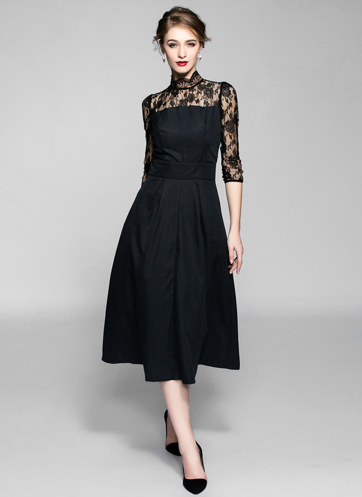 Black Aline Midi Dress with High Collar and Lace Details