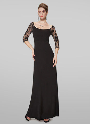 Bateau Neck Black Lace Top Evening Gown RM474