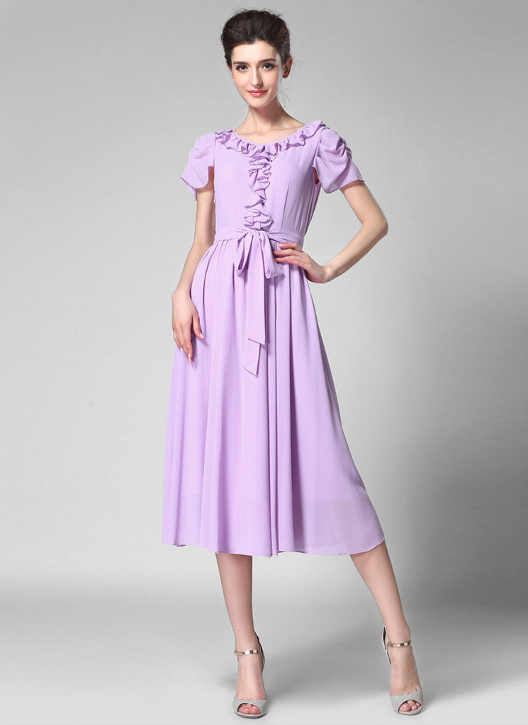 Thistle Chiffon Midi Dress with Ruffle Detail Top and Waist Sash