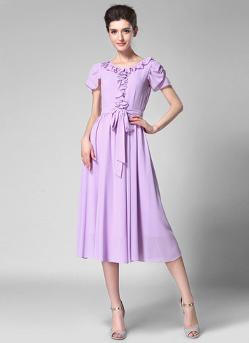Thistle Chiffon Midi Dress with Ruffle Detail Top and Waist Sash MD43