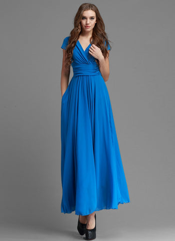V Neck Royal Blue Chiffon Maxi Dress with Ruched Waist Yoke and Cap Sleeves MX34