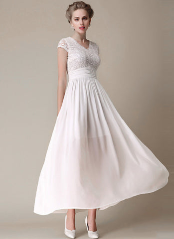 Floral Embroidered White Lace Chiffon Maxi Dress with Angled Waist Yoke RM304