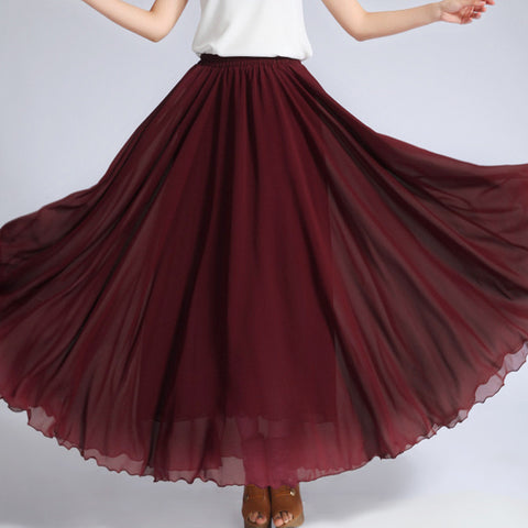 Brown Red Chiffon Maxi Skirt with Extra Wide Hem - Long Maroon Chiffon Skirt - SK5f