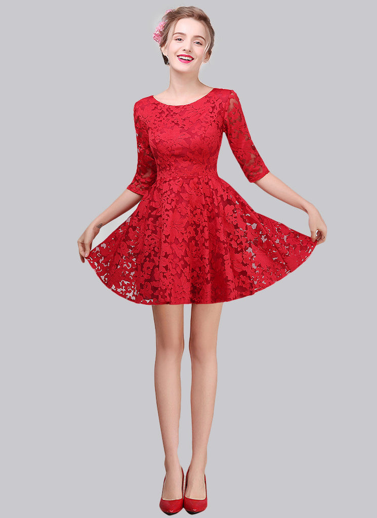 Red Embroidered Organza Lace Aline Mini Dress with Three Quarter Sleeves