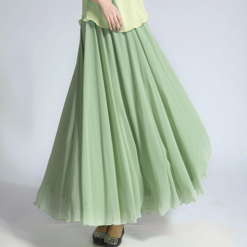 Pale Mint Green Chiffon Maxi Skirt with Extra Wide Hem