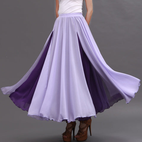 Purple and Thistle Maxi Skirt - Contrast Colored Maxi Skirt - Long Layered Chiffon Skirt - SK6h