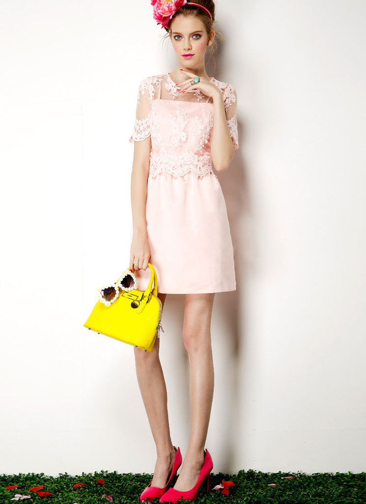 Light Pink Lace Satin Mini Dress with Scalloped Peplum