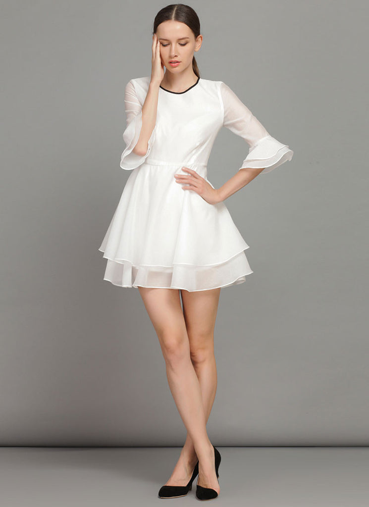 White Fit and Flare Mini Dress with Trumpet Sleeves