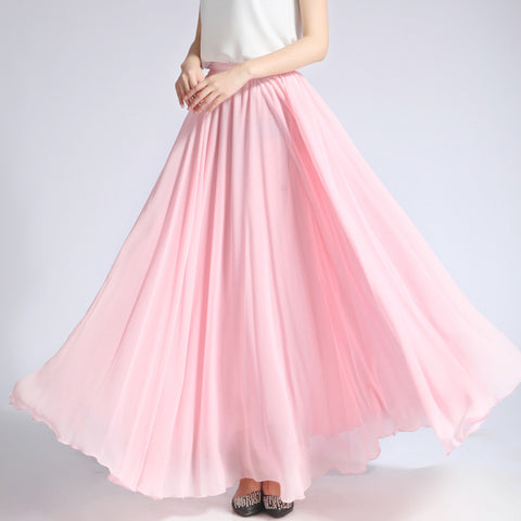 Light Pink Chiffon Maxi Skirt with Extra Wide Hem - Long Pink Chiffon Skirt - SK5i
