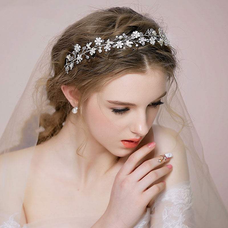 Hand Wired Bridal Headpiece - Crystal Crown with Floral and Leaf Pattern - Pearl and Crystal Bridal Halo HP1