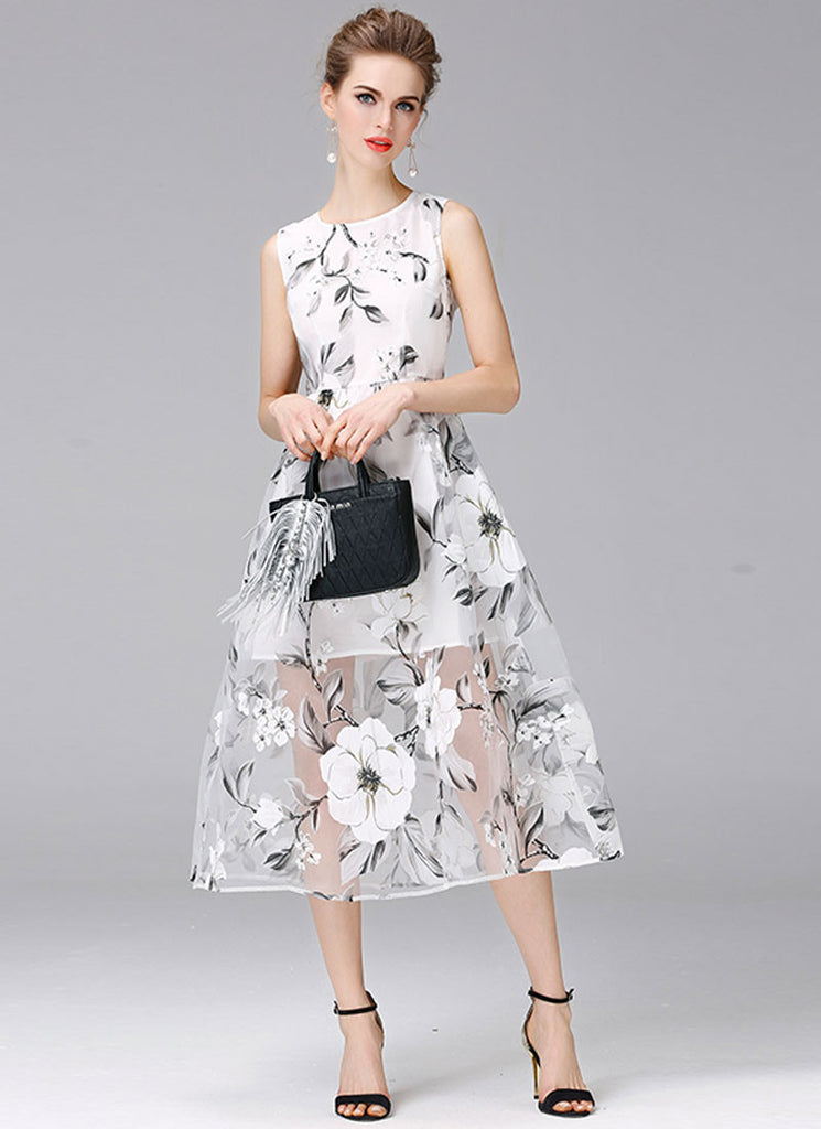 Sleeveless Floral Organza Midi Dress