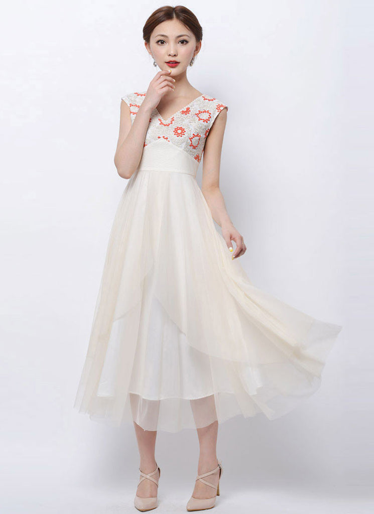 Ivory Lace Tulle Maxi Dress with Orange Embroidery and Asymmetric Skirt