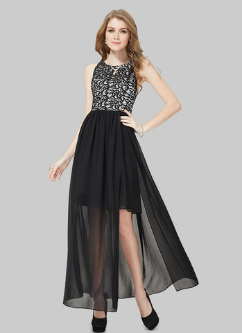Black Lace Chiffon Maxi Dress with High Slit RM525