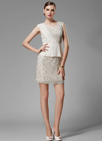 Cream White Lace Peplum Sheath Mini Dress with Black Corded Lace Details MN71