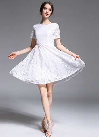 V Back White Lace Fit and Flare Mini Dress with Short Sleeves MN26