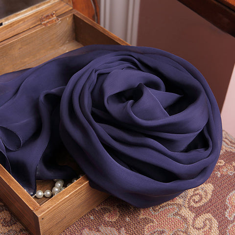 Indigo Silk Chiffon Scarf - Dark Purple Mulberry Silk Scarf SS22