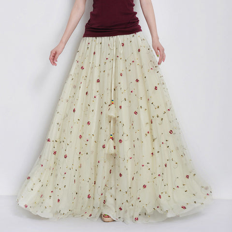 Pastoral Floral Embroidered Tulle Lace Maxi Skirt - Floral Lace Tulle Skirt of Floor Length - SK4