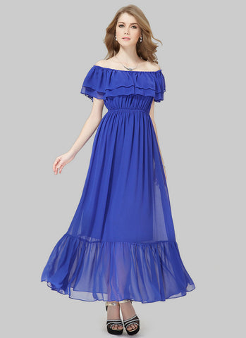 Off-Shoulder Sapphire Blue Maxi Dress with Layered Top RM499