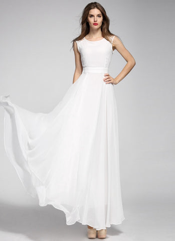 Sleeveless White Chiffon Maxi Dress with Round Neck and Lace Details MX27