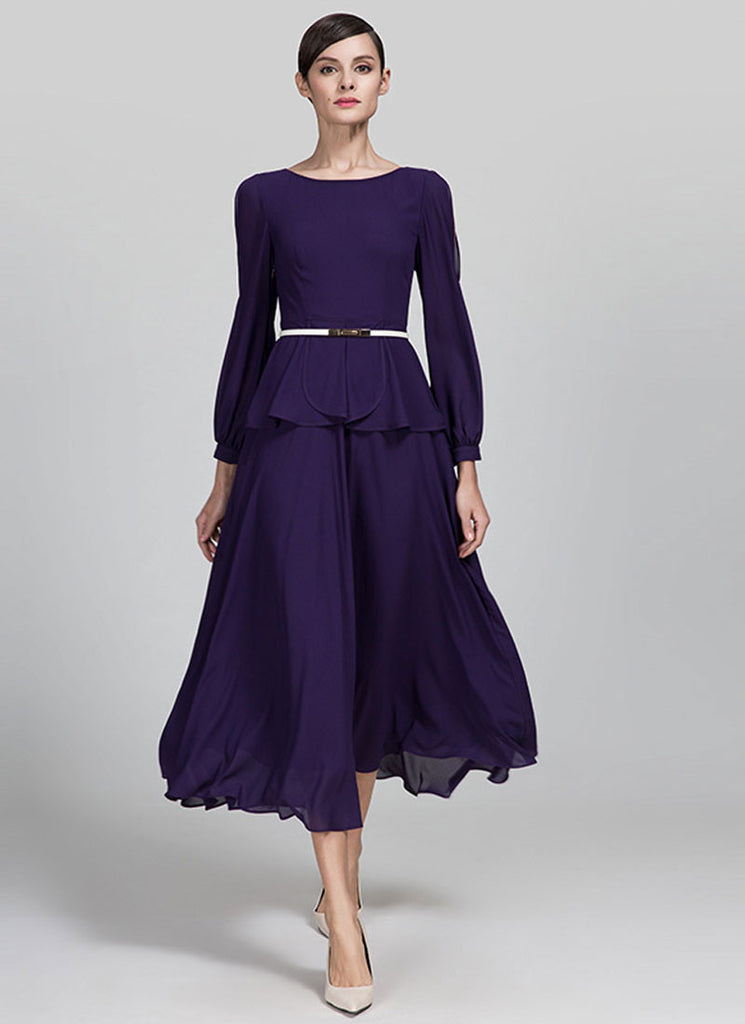 Indigo Purple Chiffon Midi Dress with Open Shoulder Sleeves and Layered Peplum