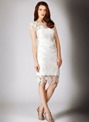 V Back White Lace Satin Sheath Mini Dress with Floral Appliqué RD313
