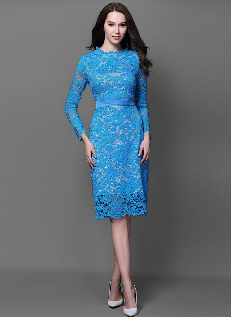 Long Sleeve Sky Blue Lace Sheath Mini Dress with Satin Waist Yoke