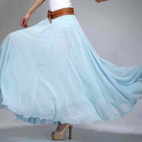 Sky Blue Chiffon Maxi Skirt with Extra Wide Hem - Long Light Blue Chiffon Skirt - SK2h