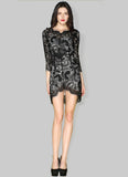 Asymmetric Black Lace Sheath Mini Dress with Eyelash Details RD389