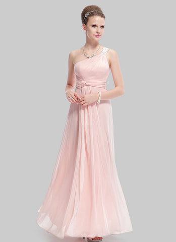 One Shoulder Dusty Rose Pink Evening Dress with Lace Details RM481