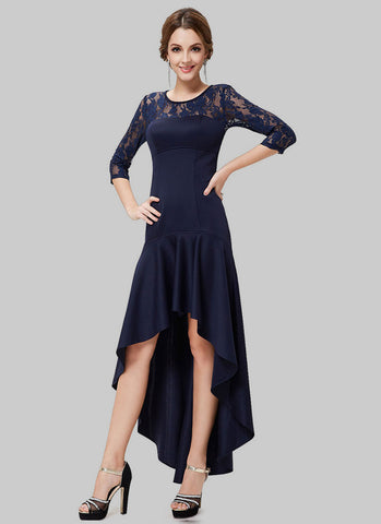 Blue Hi Lo Hem Mixi Dress with Lace Details RM478