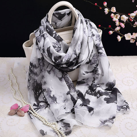 White and Black Floral Silk Scarf - Black Floral Printed Mulberry Silk Scarf - Floral Printed Silk Georgette Scarf Shaw - 2017-11