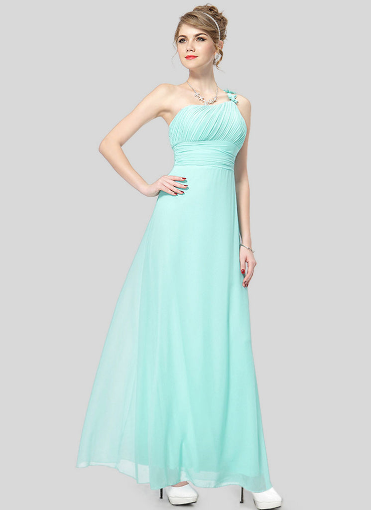 One Shoulder Turquoise Maxi Dress with Ruched Top and Waist
