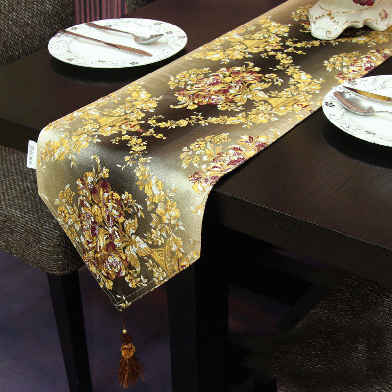 Floral Jacquard Table Runner with Ball Topped Fringes TR6