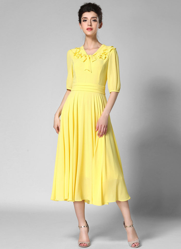 V Neck Yellow Midi Chiffon Dress with Layered Flounce Neck and Elbow Sleeves