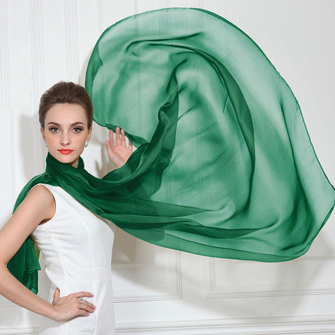 Dark Green Silk Chiffon Scarf - Dark Emerald Green Silk Scarf - Large Silk Shaw - SS42