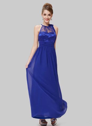 Blue Lace Chiffon Evening Dress with Drawstring Neck RM517