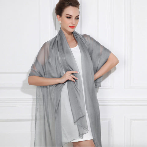 Medium Gray Silk Chiffon Scarf - Grey Silk Scarf - Large Silk Shaw - SS46