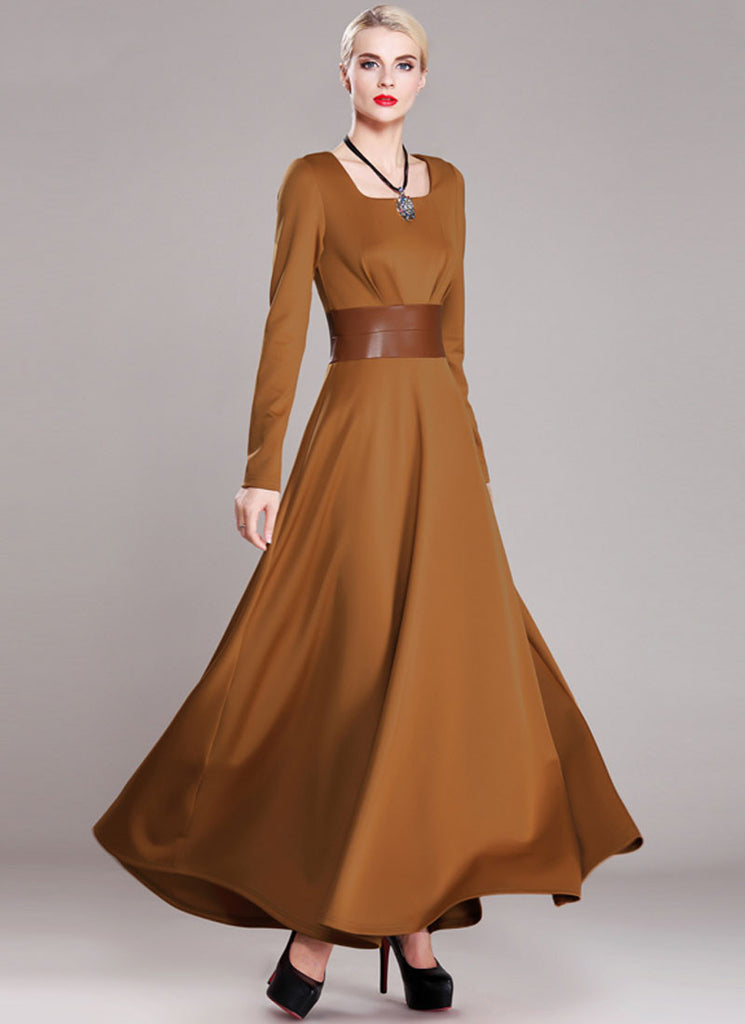 Sienna Maxi Dress with Square Collar and PU Leather Waist Yoke