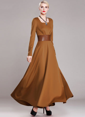 Sienna Maxi Dress with Square Collar and PU Leather Waist Yoke RM374