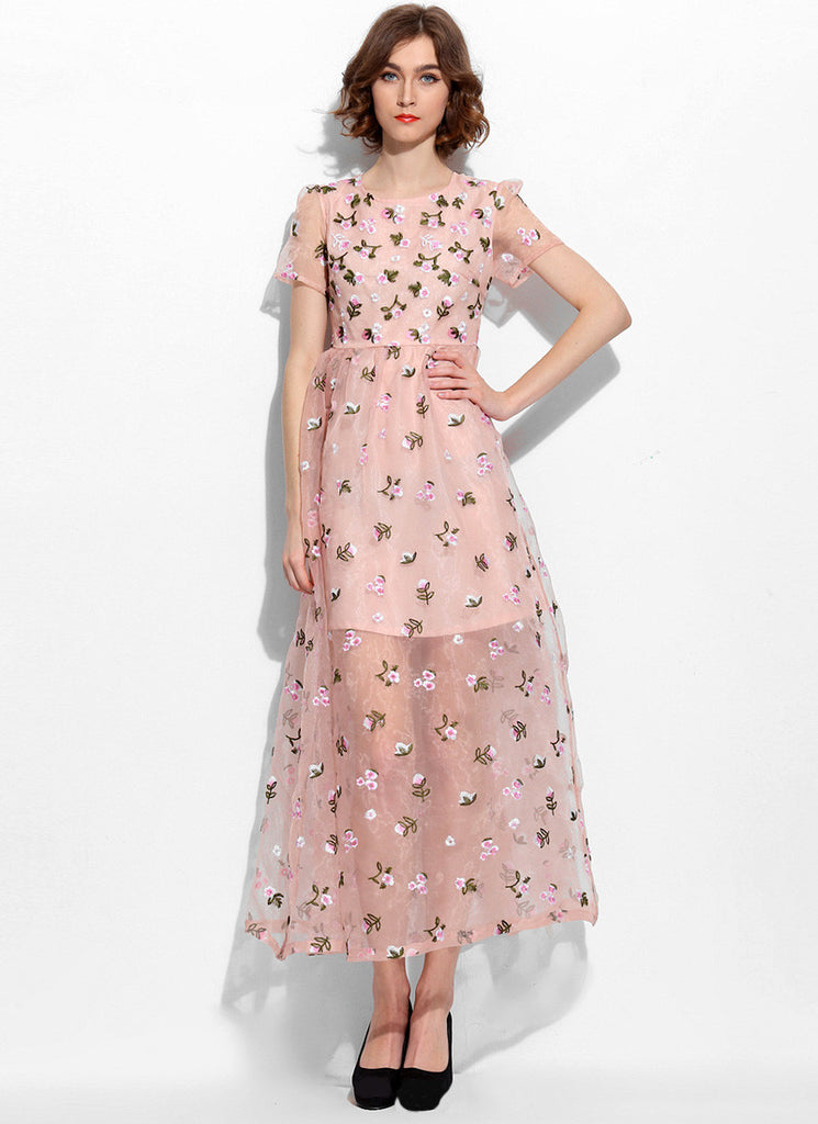 Dusty Rose Pink Floral Embroidered Maxi Dress