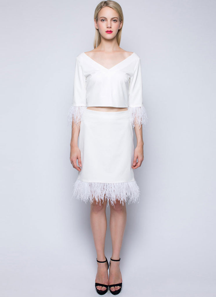 V Neck White Sheath Dress with Feather Details