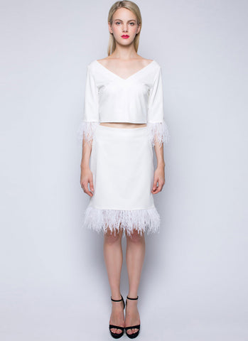 V Neck White Sheath Dress with Feather Details RD384