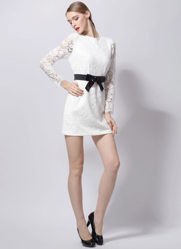 White Lace Sheath Mini Dress with Black Bow Waist Band