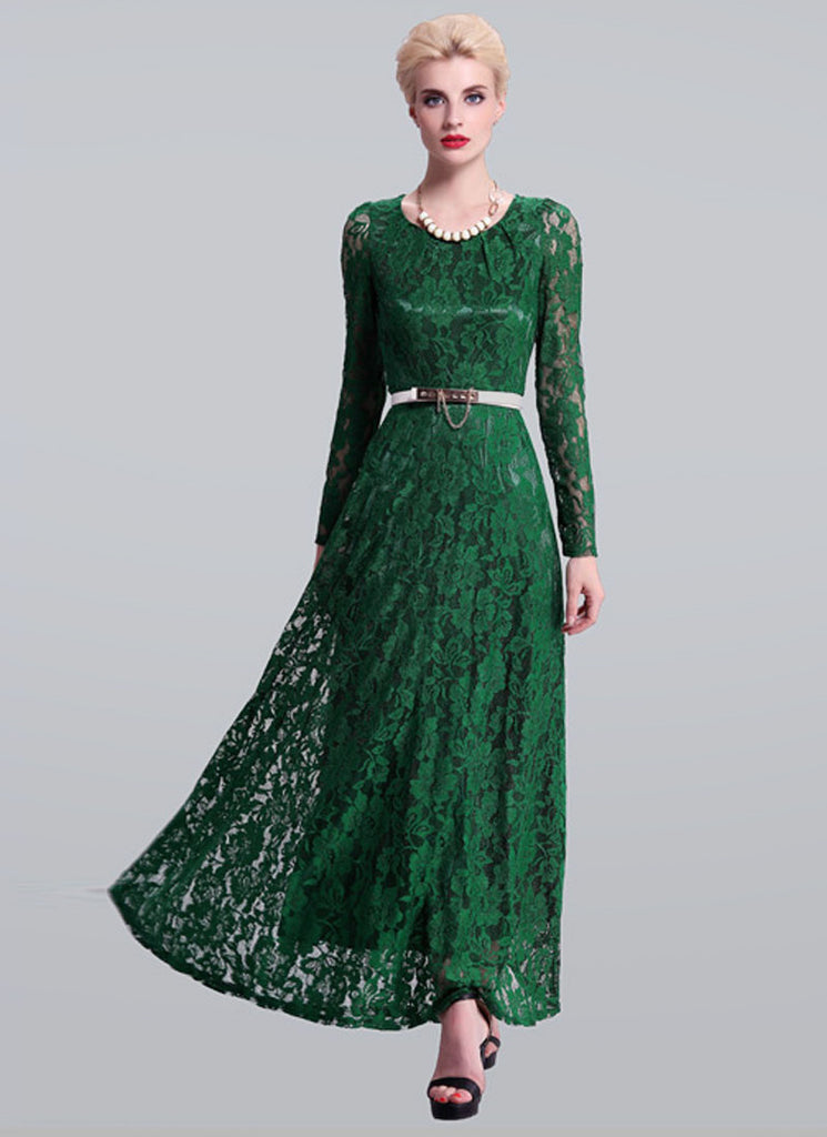 Emerald Green Lace Maxi Dress with Long Sleeves