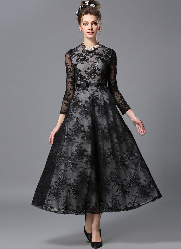 Long Sleeve Black Lace Maxi Dress with White Lining