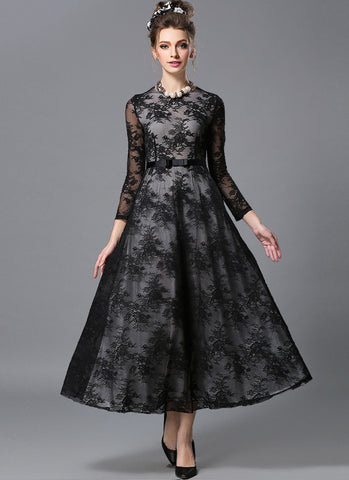 Long Sleeve Black Lace Maxi Dress with White Lining MX53