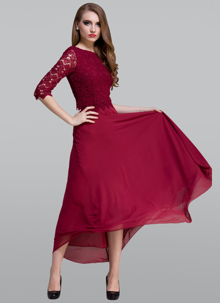 Maroon Lace Chiffon Maxi Dress with Deep Scoop Back